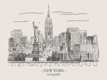 New York vintage vector illustration royalty free illustration