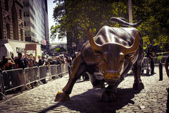New York Wall Street Bull stock images