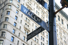 New York Wall Street und Broadway-Straßenschild Lizenzfreies Stockfoto