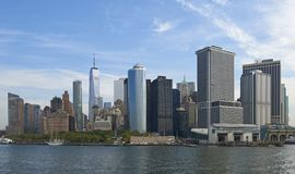 New York waterfront. With blue skies in the background Royalty Free Stock Photos
