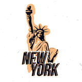 New York wear design with statue of liberty. T-shirt print, apparel design on NY theme Royalty Free Stock Photo
