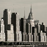 New York West Side. New York City's West Side highway with newer residential towers descending in height towards the South.  The Empire State Building can be Stock Images
