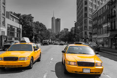 New York West Village in Manhattan yellow cab Stock Image