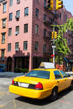 New York West Village in Manhattan yellow cab Royalty Free Stock Photo
