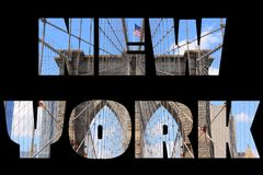 New York word. New York city name - USA travel destination sign on black background Royalty Free Stock Image