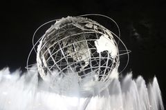 1964 New York World s Fair Unisphere at night. NEW YORK - SEPTEMBER 3, 2017: 1964 New York World s Fair Unisphere at night in Flushing Meadows Park. It is the stock photos