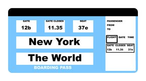 New York The World ticket. Illustration of airline boarding pass ticket saying New York to the World, isolated on white background Stock Photo