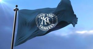 New York Yankees flag, american professional baseball team, waving - loop. Flag of the team of the New York Yankees, american professional baseball team, waving stock video footage