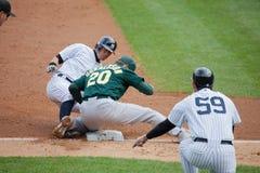 New York Yankees Player Suzuki Out at Third Base Royalty Free Stock Image