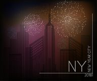 New York New Year city banner. Vector Firework New York New Year city banner Royalty Free Stock Photography