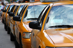 New York, yellow cabs. Yellow cabs queuing in an Avenue of  New York Royalty Free Stock Photo