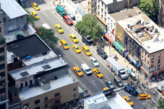 New York yellow cabs and street view from above Royalty Free Stock Images