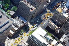 New York yellow cabs and street view from above Stock Photo