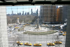 New York and Yellow Taxis. Through a hotel window Stock Image