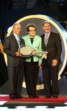 New- Yorkbürgermeister Michael Bloomberg, Billie Jean King und USTA-Vorsitzender, CEO und Präsident Dave Haggerty während US Open- Stockfotografie