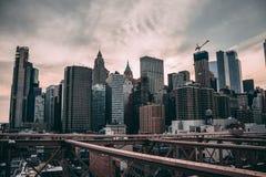 New Yorke Brooklyn Bridge view royalty free stock photos
