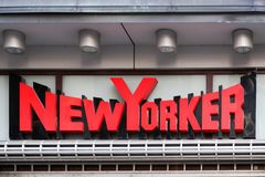 New Yorker logo on a wall stock images
