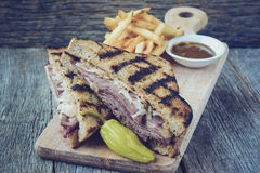 New Yorker Sandwich with Instagram Style Filter on rustic wood b Royalty Free Stock Photo