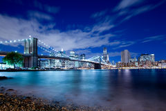 New- Yorkfinanzbezirk und Brooklyn-Brücke Lizenzfreie Stockfotografie