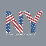 New- Yorkflaggentypographie, T-Shirt Grafiken, Vektorformat eps10 Lizenzfreies Stockfoto