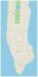 New- Yorkkarten-- unteres und mittleres Manhattan Lizenzfreie Stockfotos