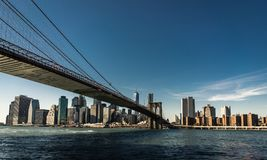 New- Yorkskyline Citiview Manhatten mit Freedom Tower-Welt Tra lizenzfreie stockbilder