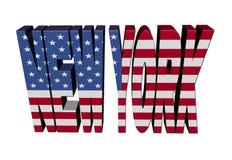 New- Yorktext mit amerikanischer Flagge Stockfotografie