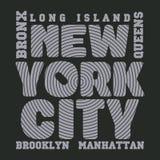 New- Yorktypographie, T-Shirt NY, Designgraphik Lizenzfreie Stockbilder