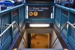 New- Yorku-bahn-eingang, Manhattan, NY, USA stockbild