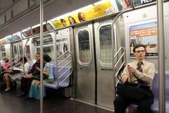 New- YorkUntergrundbahn-Innenraum Stockbild