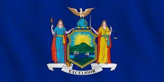 New- Yorkus-staats-Flagge mit wellenartig bewegendem Effekt, offizieller Anteil stock abbildung