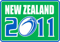 New zealand 2011 rugby ball. Illustration of a sign, symbol showing a rugby ball with words new zealand 2011 set inside a rectangle Stock Illustration