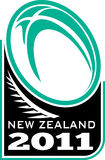 New zealand 2011 rugby ball fern. Illustration of a rugby ball and fern with words new zealand 2011 Stock Photos
