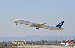 New Zealand Airlines Boeing 777-319 Departing Los Angeles. LOS ANGELES/CALIFORNIA - AUG. 9, 2015: New Zealand Airlines Boeing 777-319 (ER) taking off from at Los royalty free stock photo