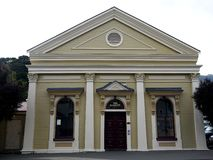 New Zealand: Akaroa historic 19th century theatre. Historic 19th century neo-classical Italianate theatre in Akaroa, South Island, New Zealand stock photo