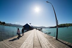 Scenic view of harbour at Akaroa, New Zealand stock image