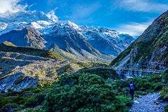 New Zealand - Aoraki National Park - Hooker bridge Stock Photo