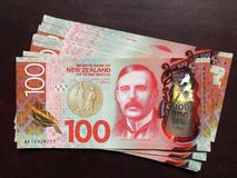 New Zealand bank note hundreds. Lord Rutherford on the $100 banknote has been growing in popularity in New Zealand. New Zealand-born British physicist who came Royalty Free Stock Images
