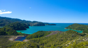 New Zealand Bay. One of the stunnig bays, at the north of the New Zealands souther island, Able Tasman track Royalty Free Stock Photos