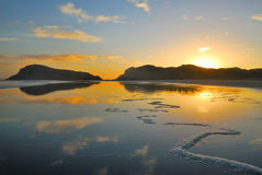 New Zealand Beach. And sunset Royalty Free Stock Photo