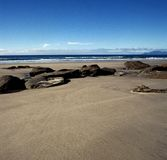 New Zealand beach. Sand beach in New Zealand stock images