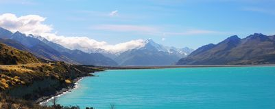 New Zealand, Beautiful Lake and Mountains Landscape. New Zealand, Beautiful Lake Pukaki and scenic mountains landscape scenery in Southern Alps. South Island, NZ royalty free stock photo