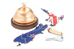 New Zealand booking concept. Flag with hotel key and reception b. Ell, 3D Stock Image