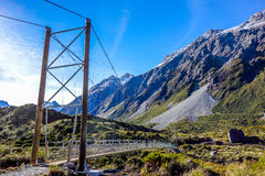 New Zealand - bridge over Hooker River in Aoraki National Park Stock Photo
