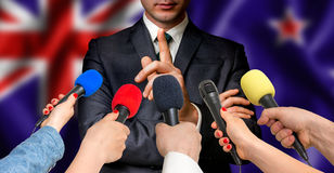 New Zealand candidate speaks to reporters - journalism concept Stock Images