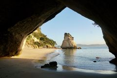 New Zealand Cathedral Cove stock photography