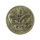 10 new zealand cent coin 1987 reverse. Isolated on white background royalty free stock photography