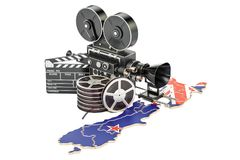 New Zealand cinematography, film industry concept. 3D rendering. Isolated on white background Stock Image