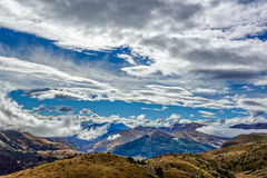 New Zealand 13. Cloudy sky on the way to Queenstown Hill New Zealand Stock Image
