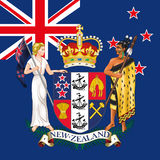 New zealand coat of arm and flag. Graphic elaboration,  file, new zealand symbols Stock Photo
